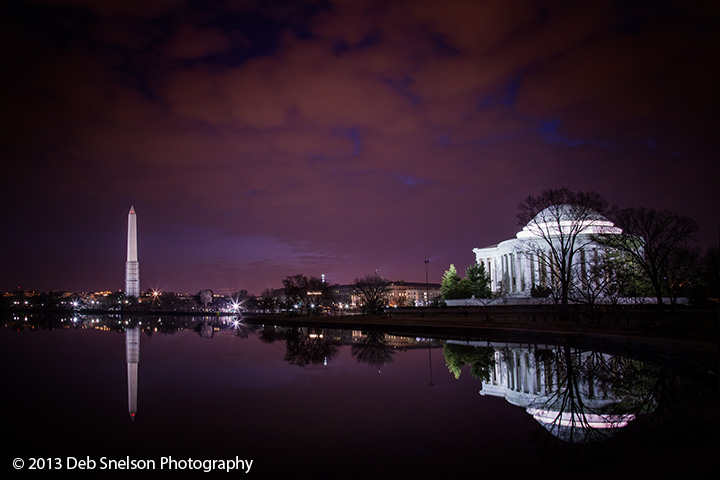 Jefferson Memorial and Washington Monument Washington DC Tidal Basin Blue moment Predawn  Low light photography