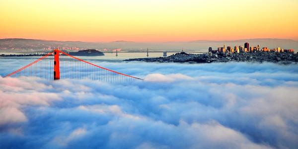 076. Golden Gate Bridge in Fog at Sunset-M